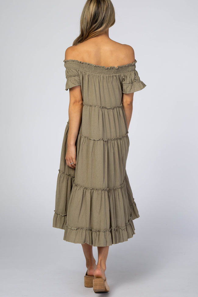 Olive Off Shoulder Tiered Midi Dress