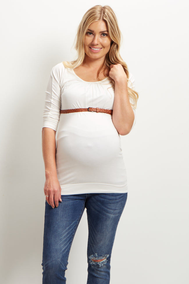 Ivory Belted 3/4 Sleeve Maternity Top