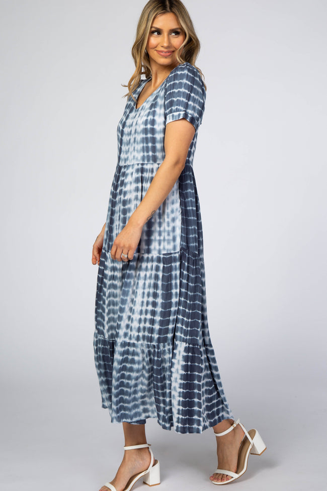Blue Tie Dye Tiered Maxi Dress