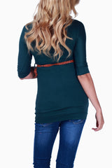Green Belted 3/4 Sleeve Maternity Top