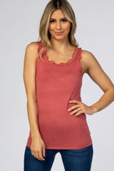 Rust Knit Lace Trim Maternity Tank