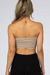 Mocha Strapless Gathered Bandeau Bralette