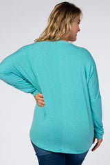 Dark Mint Button Up Tie Front Plus Maternity Top