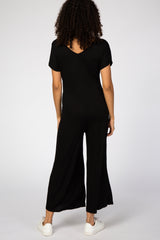 Black Short Sleeve Wide Leg Maternity Jumpsuit