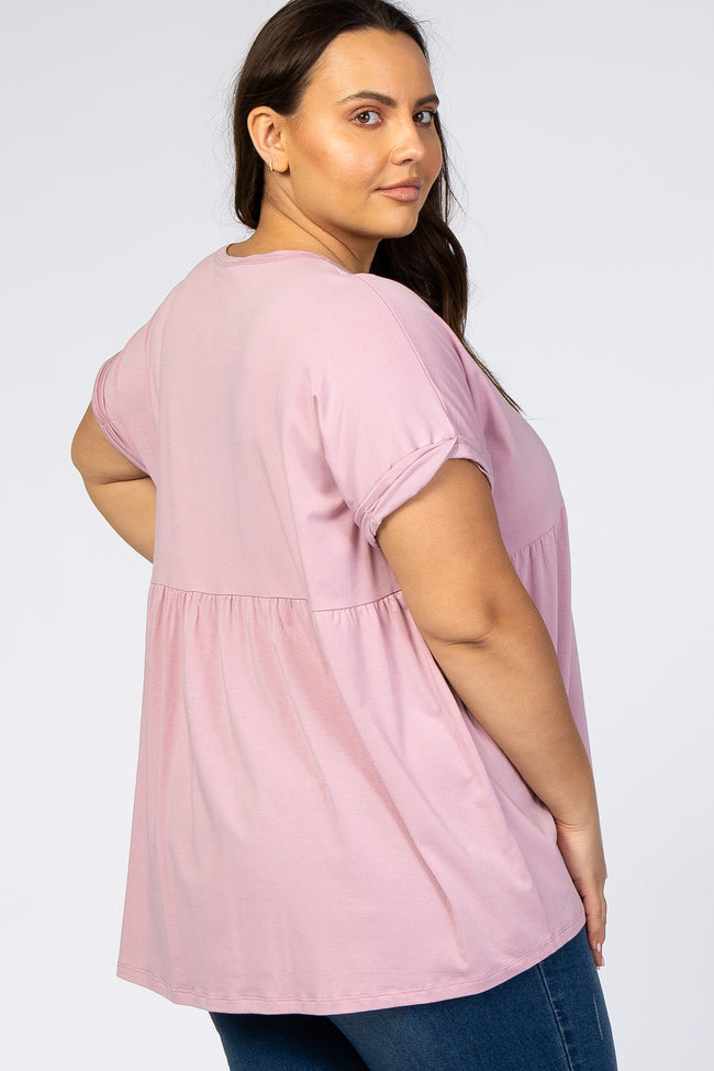 Pink Boxy Button Front Short Sleeve Plus Top