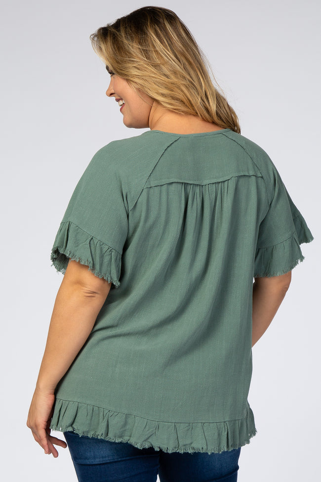 Olive Short Sleeve Fringe Ruffle Trim Plus Maternity Blouse