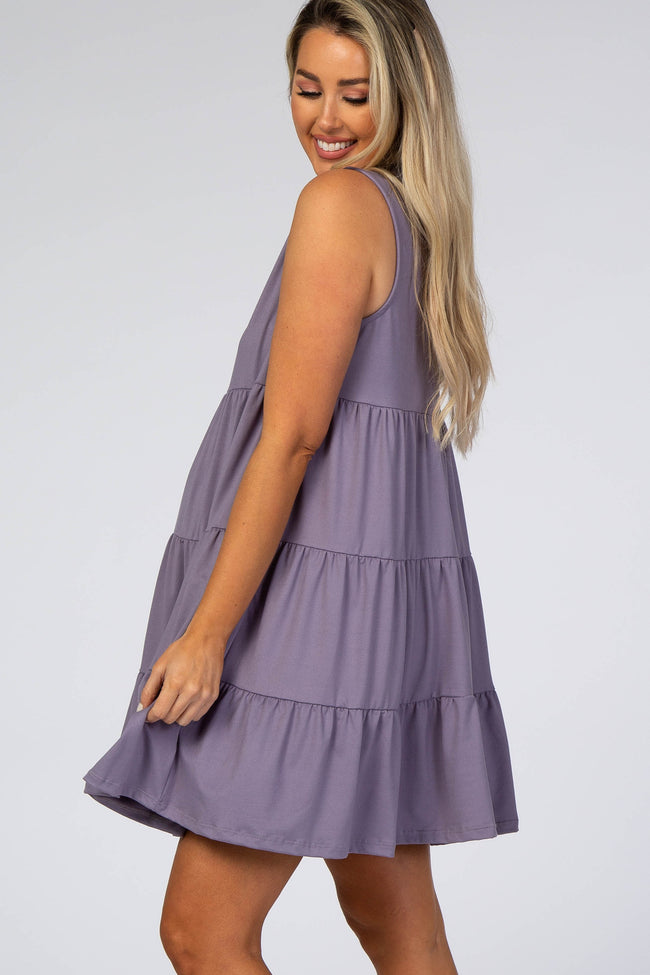 Lavender Soft Knit Pleated Tiered Sleeveless Maternity Dress