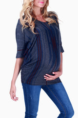 Charcoal Printed Maternity Top