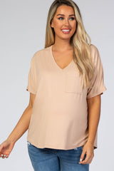 Light Taupe Pocket Front Dolman Maternity Top