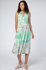 Mint Floral Paisley Tiered Maxi Dress