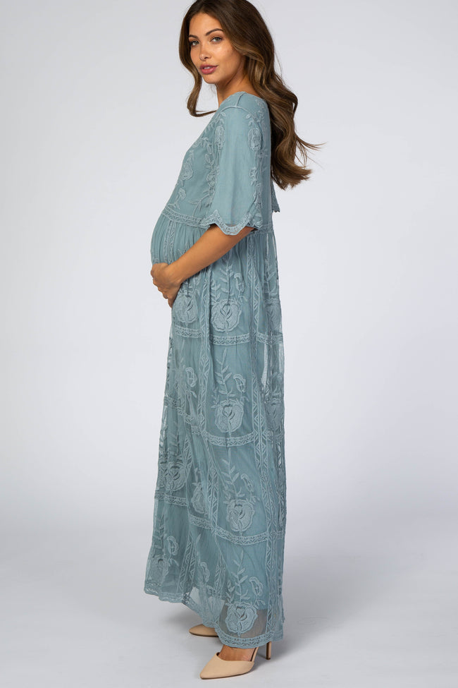 Light Teal Lace Overlay Maternity Maxi Dress