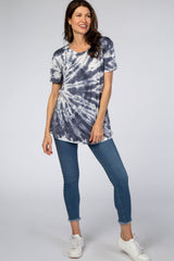 Navy Tie Dye Short Sleeve Top