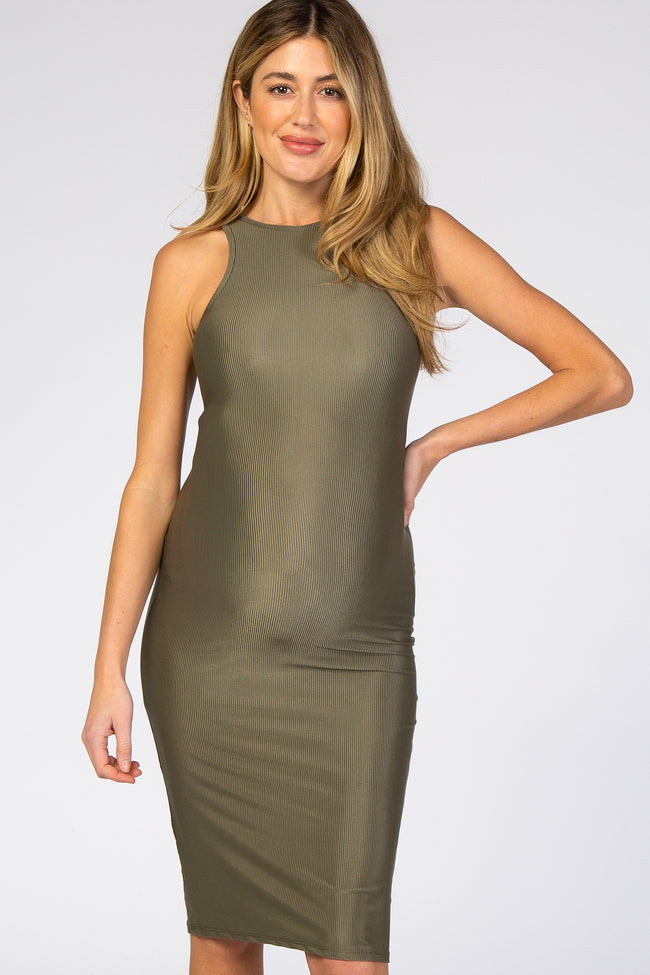 Olive Sleeveless Ribbed Fitted Maternity Dress