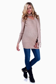 Mocha Cable Knit Maternity Sweater W/ Scarf