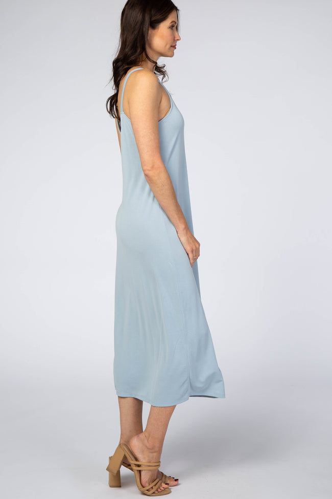 Light Blue Basic Sleeveless Midi Dress