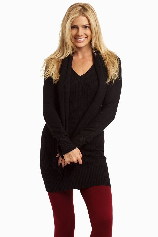 Black Cable Knit Maternity Sweater W/ Scarf