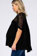 Black Floral Embroidered Maternity Blouse