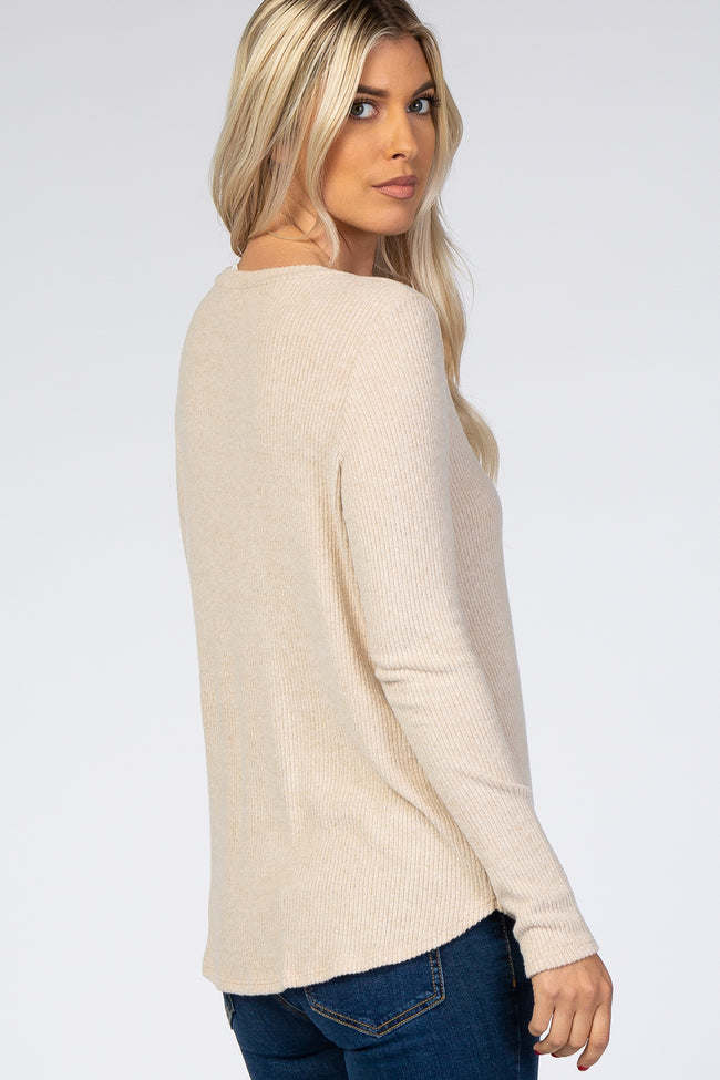 Beige Brushed Knit Ribbed Top