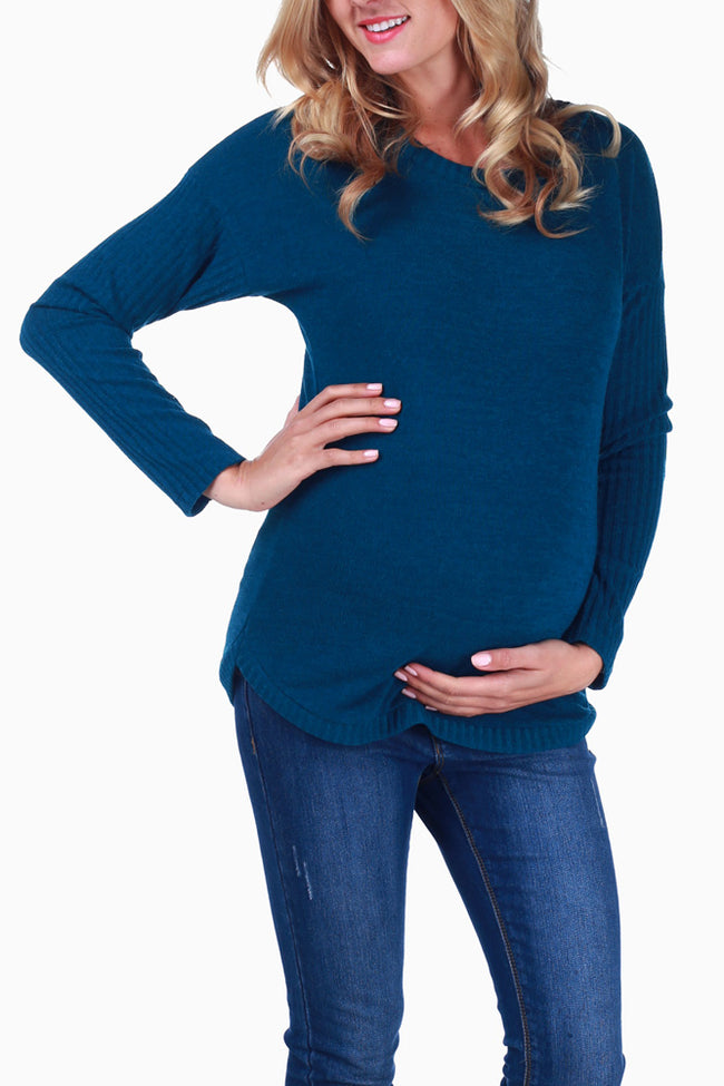 Teal Knit Maternity Sweater