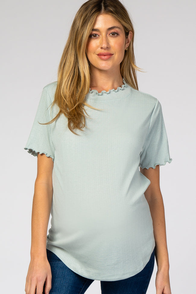 Light Blue Ruffle Trim Ribbed Maternity Top