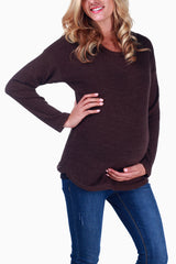 Brown Knit Maternity Sweater