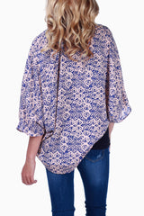 Beige Blue Printed Open Front Maternity Cardigan