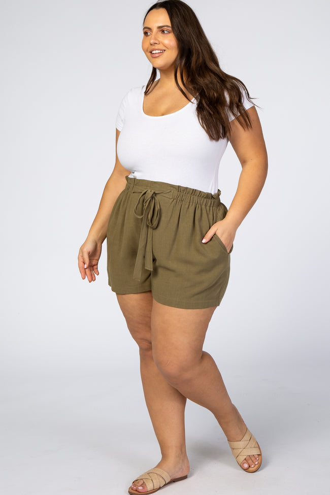 Olive Tie Front Plus Maternity Shorts