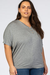 Heather Grey Button Front Plus Maternity Tunic