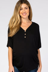Black Button Front Maternity Tunic