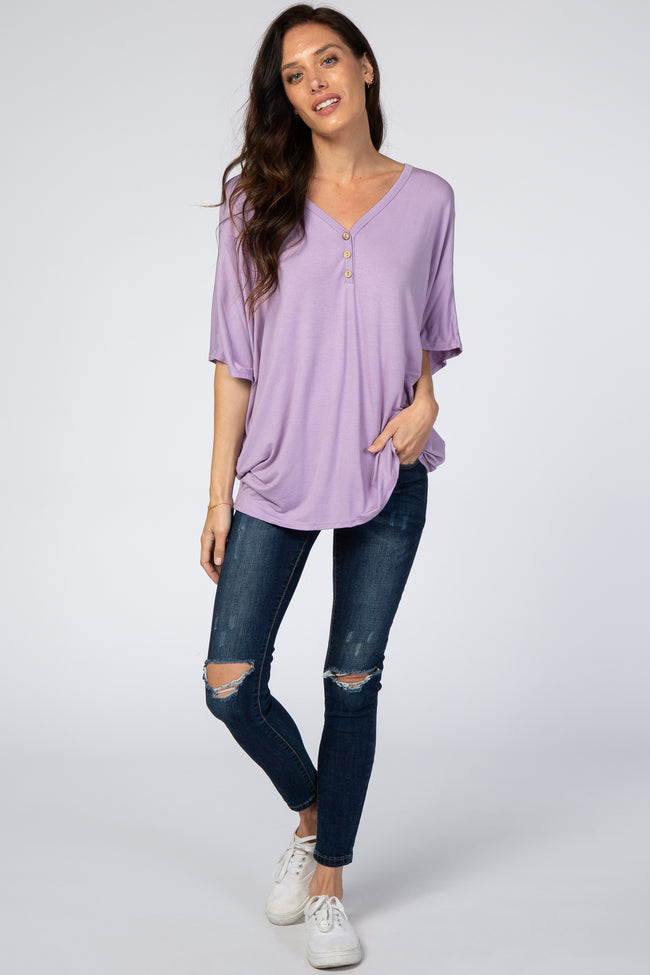 Lavender Button Front Tunic