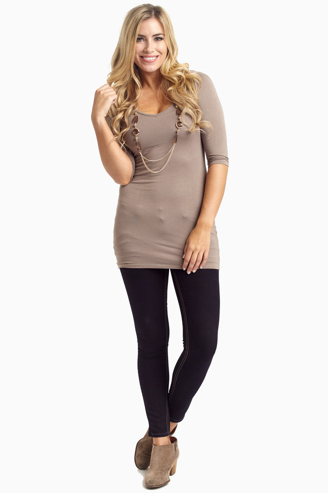 Mocha 3/4 Sleeve Maternity Top W/ Necklace