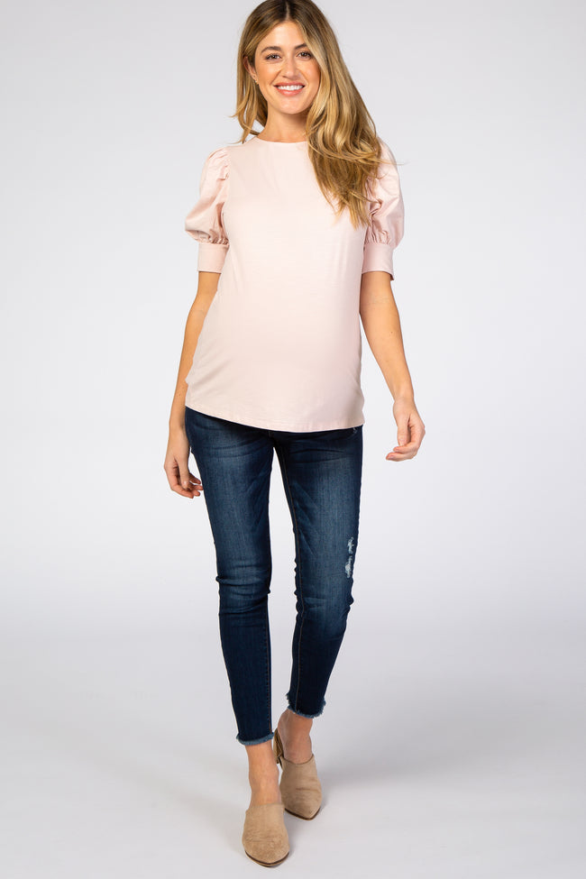 Pink Puff Sleeve Maternity Top
