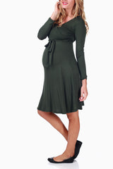 Olive Green Tie Maternity/Nursing Dress