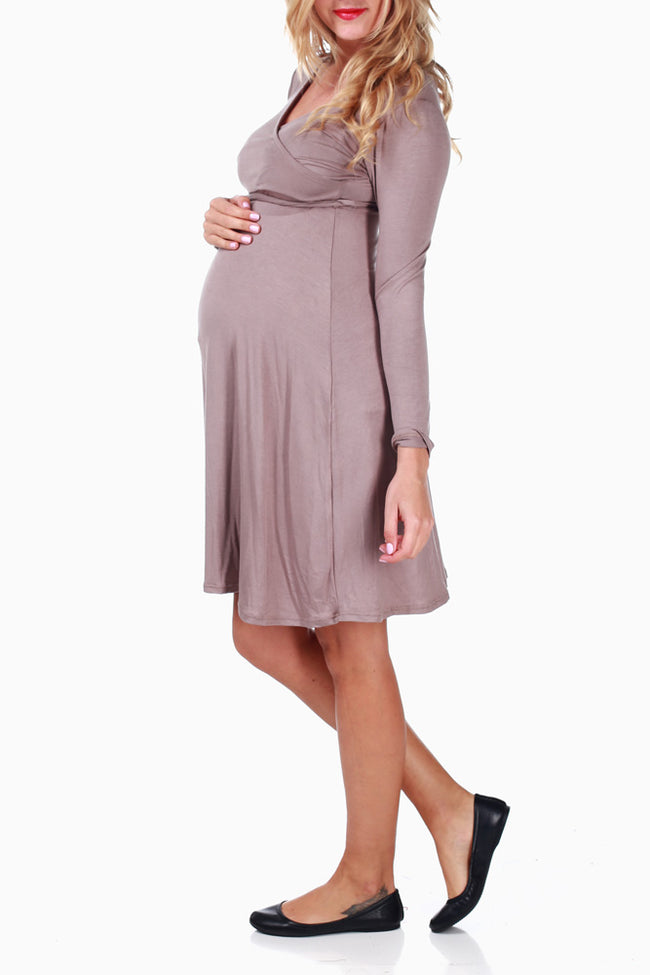 Mocha Tie Maternity/Nursing Dress