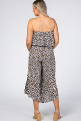 Brown Animal Print Flounce Maternity Jumpsuit