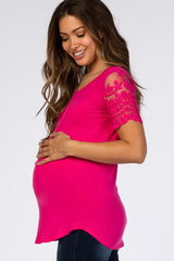 Fuchsia Lace Sleeve Maternity Top