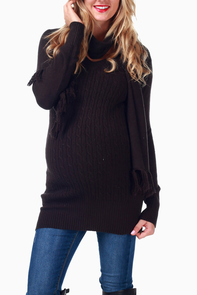 Brown Cable Knit Maternity Sweater W/ Scarf