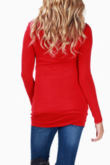 Red Studded Neckline Maternity Top