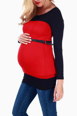 Red Black Colorblock Belted Maternity Top