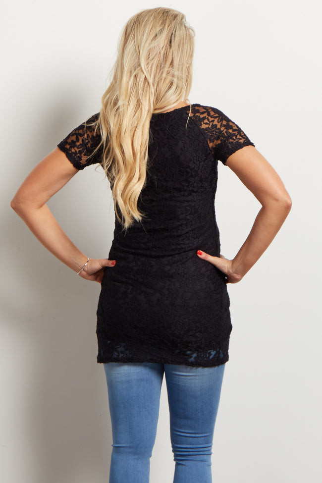 Black Lace Fitted Maternity Top