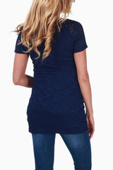 Navy Blue Lace Fitted Maternity Top