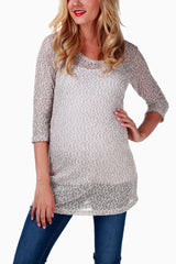 Taupe Knit Maternity Top