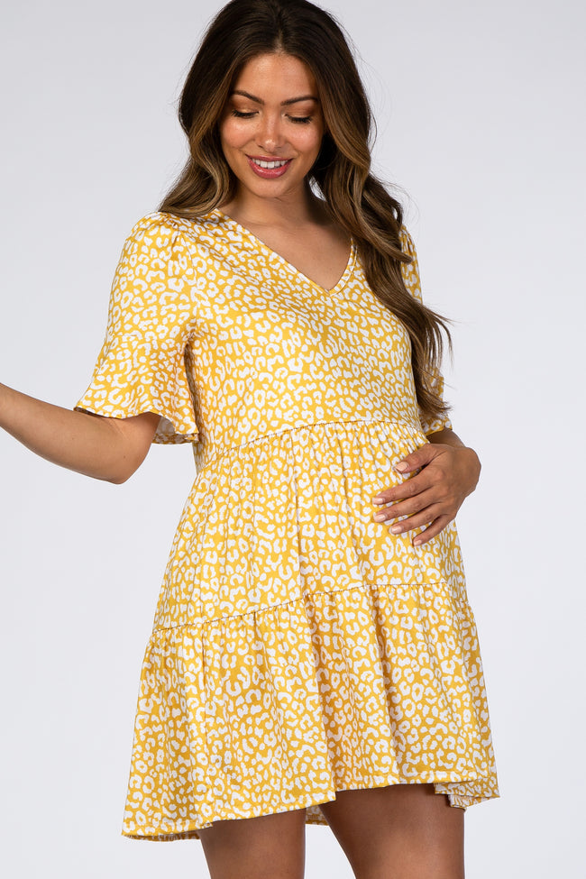 Yellow Animal Print Ruffle Sleeve Maternity Dress