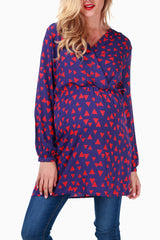 Blue Red Triangle Maternity/Nursing Blouse