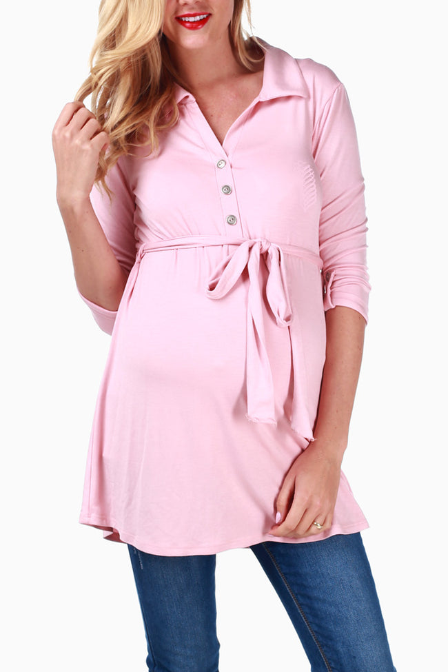 Dusty Pink Sash Tie Maternity Top