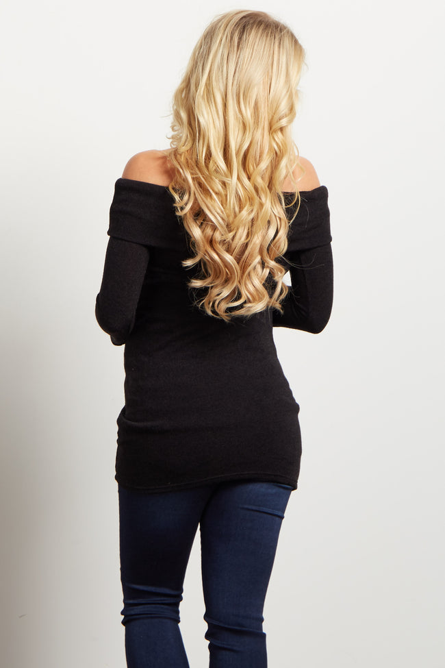 Black Knit Off Shoulder Maternity Top