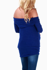 Blue Off Shoulder Maternity Knit Top