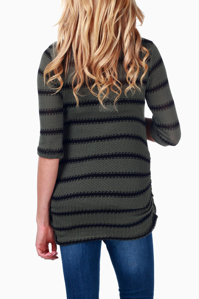 Green Black Striped Knit Maternity Top