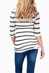 White Black Striped Knit Maternity Top