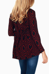 Burgundy Black Diamond Print Maternity Cardigan